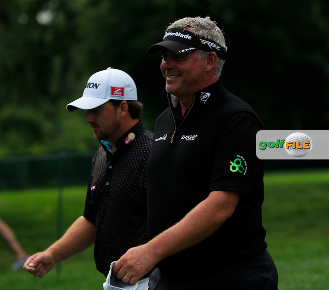 Graeme McDowell and Darren Clarke (NIR) play together during Tuesday's Practice Day of the 95th US PGA Championship 2013 held at Oak Hills Country Club, Rochester, New York.<br /> 6th August 2013.<br /> Picture: Eoin Clarke www.golffile.ie