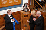 Unveiling of the Sandy Jardine bust on the marble staircase at Ibrox.  Jim Hannah, John Greig and Shona Jardine touching the head of Sandy