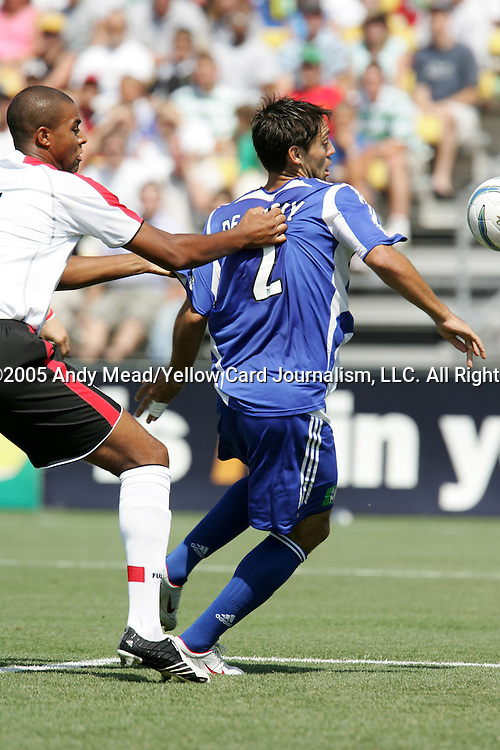 30 July 2005: Zat Knight (l) grabs onto Clint Dempsey (2). Major League Soccer's All-Stars defeated Fulham FC of the English Premier League 4-1 at Columbus Crew Stadium in Columbus, Ohio in the 2005 Sierra Mist MLS All-Star Game.