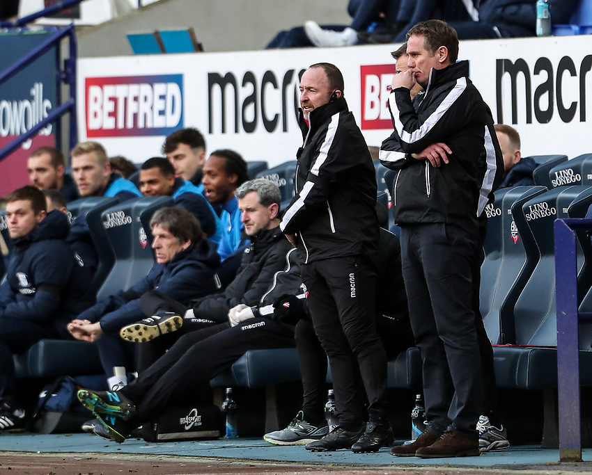 Bolton Wanderers' manager Phil Parkinson with assistant manager Steve Parkin  <br /> <br /> Photographer Andrew Kearns/CameraSport<br /> <br /> The EFL Sky Bet Championship - Bolton Wanderers v Preston North End - Saturday 9th February 2019 - University of Bolton Stadium - Bolton<br /> <br /> World Copyright © 2019 CameraSport. All rights reserved. 43 Linden Ave. Countesthorpe. Leicester. England. LE8 5PG - Tel: +44 (0) 116 277 4147 - admin@camerasport.com - www.camerasport.com