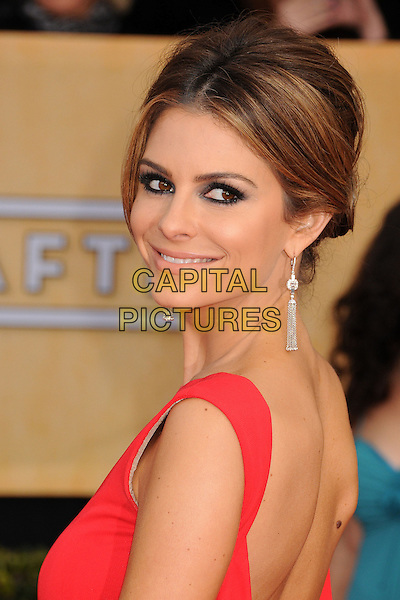 Maria Menounos.Arrivals at the 19th Annual Screen Actors Guild Awards at the Shrine Auditorium in Los Angeles, California, USA..27th January 2013.SAG SAGs headshot portrait red looking over shoulder dangling diamond earrings smokey eyes make-up eyeliner .CAP/ADM/BP.©Byron Purvis/AdMedia/Capital Pictures