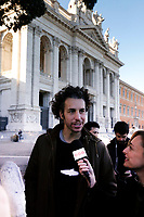 Mattia Santori, one of the founders of the movement<br /> Rome December 14th 2019. Gathering of the movement od the sardine (sardines), born to protest against Salvini's Lega party that have filled St Giovanni Square<br /> Foto Samantha Zucchi Insidefoto