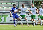 2018-08-12 / voetbal / seizoen 2018 - 2019 / Crocky Cup / Dessel Sport - Diegem / een duel om de bal tussen Ruben Tilburgs (r) (Dessel Sport) en Mehdi Benlouafi (l) (Diegem)