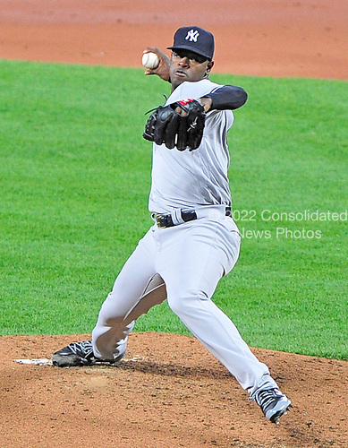 New York Yankees starting pitcher Luis Severino (40) works in the second inning against the Baltimore Orioles at Oriole Park at Camden Yards in Baltimore, MD on Friday, April 7, 2017.<br /> Credit: Ron Sachs / CNP<br /> (RESTRICTION: NO New York or New Jersey Newspapers or newspapers within a 75 mile radius of New York City)