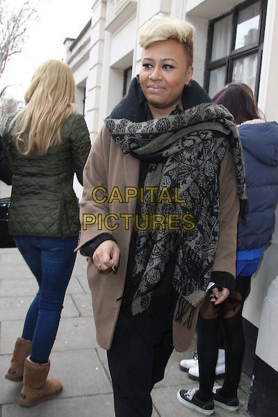 Emeli Sande at the BBC Live Lounge, Maida Vale, London, England..February 14th, 2012.half length beige coat grey gray scarf print pattern full 3/4 black.CAP/HIL.©John Hillcoat/Capital Pictures .