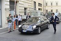Roma, 3 Luglio 2014<br /> Silvio Berlusconi nella macchina con la scorta  esce da Palazzo Chigi al Termine del colloquio con Renzi.