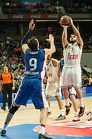 Real Madrid´s Facundo Campazzo and Anadolu Efes´s Dario Saric during 2014-15 Euroleague Basketball match between Real Madrid and Anadolu Efes at Palacio de los Deportes stadium in Madrid, Spain. December 18, 2014. (ALTERPHOTOS/Luis Fernandez) /NortePhoto /NortePhoto.com