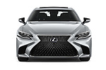 Car photography straight front view of a 2018 Lexus LS 500h 4 Door Sedan