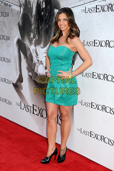 "CHARISMA CARPENTER.""The Last Exorcism"" Los Angeles Premiere held at Arclight Cinemas, Hollywood, California, USA, .24th August 2010..full length dress strapless turquoise green  black booties shooboots shoes tattoo on foot hand on hip .CAP/ADM/BP.©Byron Purvis/AdMedia/Capital Pictures."