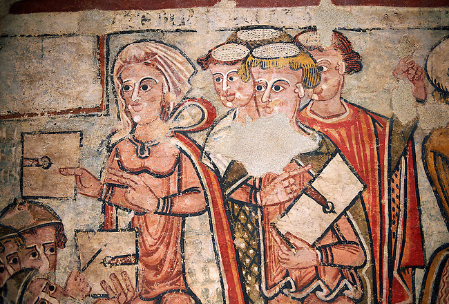 Trail and Arrest of St. Catherine<br /> <br /> Between 1241-1255<br /> Mixed Technica transferred to canvas<br /> It comes from the old chapel of St. Catherine's cathedral La Seu d'Urgell, Spain, Spain.<br /> <br /> Acquisition of the Museum Board 2008 campaign. MNAC 214241<br /> <br /> Thirteenth century Romanesque painted altar front of the Arrest of St. Catherine who was a patron of the Dominican Order and a model popular saint of the medieval times. The painting style sits  between Romanesque and Gothic.