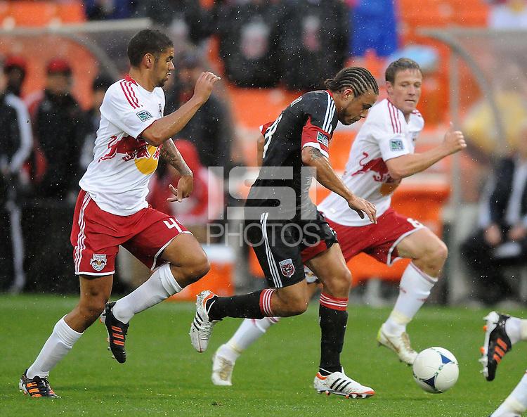 D.C. United midfielder Nick DeLeon (18) goes against New York Red Bulls midfielder Victor Palsson (44) D.C. United defeated The New York Red Bulls 4-1 at RFK Stadium, Sunday April 22, 2012.