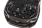 Car Stock 2015 Mazda Mazda2 Pulse Edition 5 Door Hatchback 2WD Engine high angle detail view