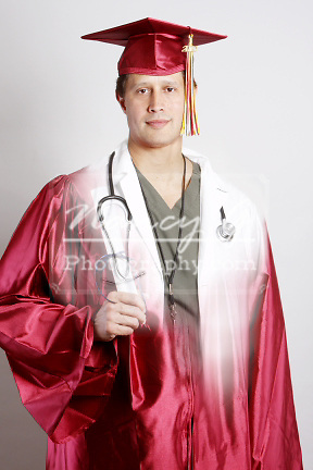A split image of a Graduate holding a diploma and a doctor
