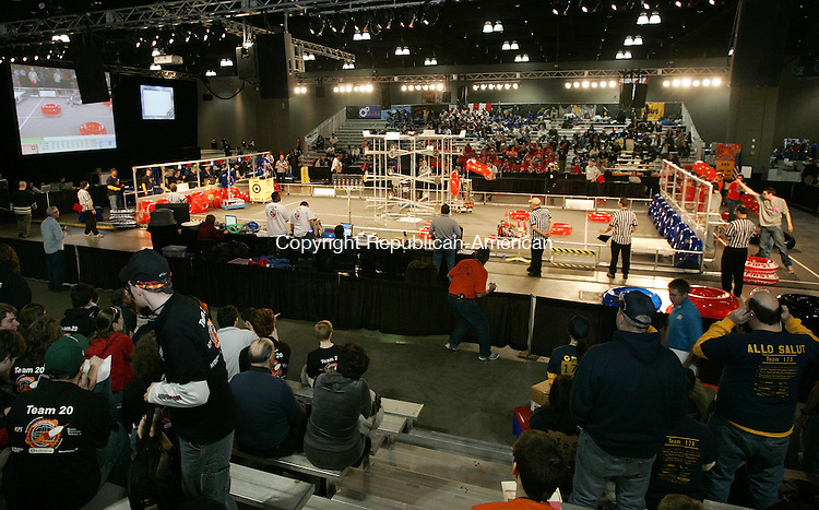 HARTFORD, CT. 16 March 2007--16_NEW_031607SV08--Robotic teams compete at the United Technologies Connecticut Regional 2007 First Robotics Competition at the Connecticut Convention Center in Hartford Friday.<br /> Steven Valenti Republican-American