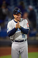 Lake County Captains coach Junior Betances (16) during a game against the Quad Cities River Bandits on May 6, 2017 at Modern Woodmen Park in Davenport, Iowa.  Lake County defeated Quad Cities 13-3.  (Mike Janes/Four Seam Images)