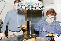 Democratic presidential candidate and Congressional Representative Eric Swalwell (D-CA 15th) gets a plate of food at the Milford Democrats' Potluck Supper at the Unitarian Universalist Congregation Church in Milford, New Hampshire, USA, on Sat., Apr. 6, 2019. Swalwell is running primarily on gun control issues.