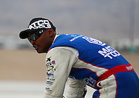 Mar 29, 2014; Las Vegas, NV, USA; NHRA top fuel driver Antron Brown during qualifying for the Summitracing.com Nationals at The Strip at Las Vegas Motor Speedway. Mandatory Credit: Mark J. Rebilas-USA TODAY Sports