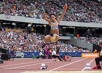 Katrina JOHNSON-THOMPSON of GBR in the Long Jump during the Sainsbury's Anniversary Games, Athletics event at the Olympic Park, London, England on 25 July 2015. Photo by Andy Rowland.