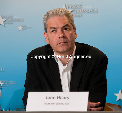Brussels-Belgium - July 15, 2014 -- Press conference on the registration of the European Citizens' Initiative STOP TTIP and the demand of a stop of the negotiations for TTIP and CETA, held at Press Club Brussels Europe; here, John HILARY (Executive Director, War on Want, UK) -- Photo: © HorstWagner.eu