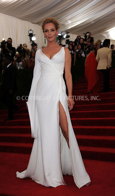 WWW.ACEPIXS.COM<br /> <br /> May 4 2015, New York City<br /> <br /> Uma Thurman arriving at the Costume Institute Benefit Gala celebrating the opening of China: Through the Looking Glass at the Metropolitan Museum of Art on May 4 2015 in New York City.<br /> <br /> <br /> Please byline: Kristin Callahan/ACE Pictures<br /> <br /> ACE Pictures, Inc.<br /> www.acepixs.com, Email: info@acepixs.com<br /> Tel: 646 769 0430