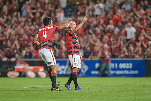 01.04.2016. Pirtek Stadium, Parramatta, Australia. Hyundai A-League. Western Sydney Wanderers versus Central Coast Mariners. Wanderers forward Brendon Santalab celebrates his goal with Topor-Stanley. The Wanderers won 4-1.