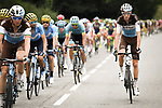 The peloton including Romain Bardet (FRA) AG2R La Mondiale and Alejandro Valverde (ESP) Movistar Team in action during Stage 15 of the 2018 Tour de France running 218km from Carcassonne to Bagneres-de-Luchon, France. 24th July 2018. <br /> Picture: ASO/Pauline Ballet | Cyclefile<br /> All photos usage must carry mandatory copyright credit (© Cyclefile | ASO/Pauline Ballet)