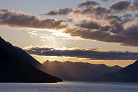 Sunset over Kenai Lake, Kenai mountains, Chugach National Forest, Kenai Peninsula, southcentral, Alaska.