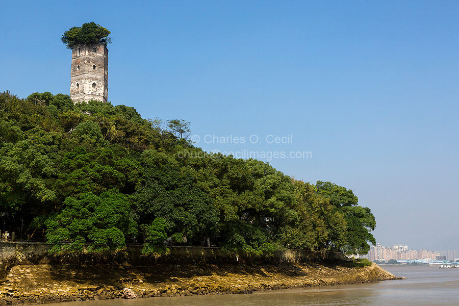 Wenzhou, Zhejiang, China.  Jiangxin Island.  East Pagoda, rebuilt 1141.