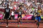 (l to r) Sutthisak SINGKHON (THA), Akihiko NAKAMURA (JPN) and Fredrik SAMUELSSON (SWE) in the mens decathlon 100m. IAAF world athletics championships. London Olympic stadium. Queen Elizabeth Olympic park. Stratford. London. UK. 11/08/2017. ~ MANDATORY CREDIT Garry Bowden/SIPPA - NO UNAUTHORISED USE - +44 7837 394578