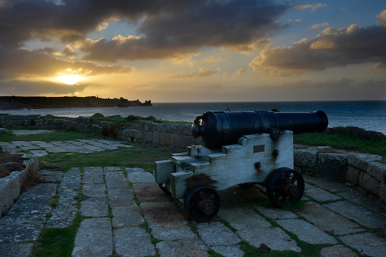 Dawn breaks at Morning Point Battery, The Garrison, St Mary's, Isles of Scilly