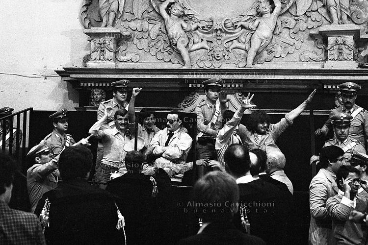 Brescia: prima sentenza per la strage di Piazza della Loggia, attentato terroristico che provoc&ograve; la morte di 8 persone e il ferimento di altre 102. Giugno 1979. Raffaele Papa, Angelino Papa, Ermanno Buzzi, Nando Ferrari, Marco De Amici.<br /> Brescia: first judgement  for the  Piazza della Loggia bombing  that took place on the morning of 28 May 1974, in Brescia, Italy during an anti-fascist protest. Raffaele Papa, Angelino Papa, Ermanno Buzzi, Nando Ferrari, Marco De Amici. June 1979.