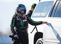 Jan. 31, 2018; Chandler, AZ, USA; NHRA top fuel driver Brittany Force during Nitro Spring Training pre season testing at Wild Horse Pass Motorsports Park. Mandatory Credit: Mark J. Rebilas-USA TODAY Sports