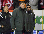 Aberdeen v St Johnstone...01.01.15   SPFL<br /> An unhappy Tommy Wright with Callum Davidson<br /> Picture by Graeme Hart.<br /> Copyright Perthshire Picture Agency<br /> Tel: 01738 623350  Mobile: 07990 594431