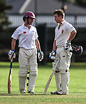 James Marshall and Ben Horne. Kings College Old Collegians XI v Kings College 1st XI, Kings College, Auckland, New Zealand, Sunday 2 April 2017. Photo: Simon Watts/www.bwmedia.co.nz
