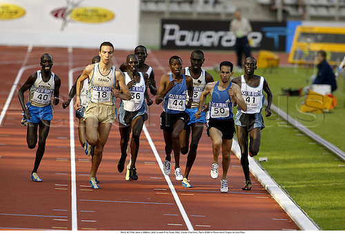 RACE ACTION, Men's 3000m, IAAF Grand Prix Final 2002, Stade Charlety, Paris 020914 Photo:Neil Tingle/Action Plus...Athletics.man track and field distance..male