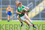 Michael Walsh St Kierans takes on Kenmare's Kevin O'Sullivan during the u21 Championship final in Fitzgerald Stadium Wednesday evening