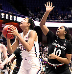 UNCASVILLE, CONNECTICUT -MAR 05: , UCONN ladies defeated Cincinnati in the semis of the AAC tournament 75-21 as Napheesa Collier grabs one her rebounds on March 5, 2018 in Uncasville, Connecticut. ( Photo by D. Heary/Eclipse Sportswire/Getty Images)