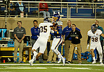 BROOKINGS, SD - SEPTEMBER 24:  Dallas Goedert #86 from South Dakota State University battles and strips the ball from Adam Brott #35 from Western Illinois in the second half of their game Saturday evening at Dana J. Dykhouse Stadium in Brookings. (Photo by Dave Eggen/Inertia)