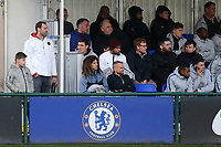 Ex Chelsea and current Arsenal goalkeeper, Petr Cech, watches on from the side of the stand close to Andreas Christensen, Ruben Loftus-Cheek and Ethan Ampadu  during Chelsea Under-19 vs AS Monaco Under-19, UEFA Youth League Football at the Cobham Training Ground on 19th February 2019