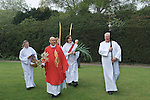 Palm Sunday open air service. St Mary the Virgin, Church of England Merton South Wimbledon London UK.