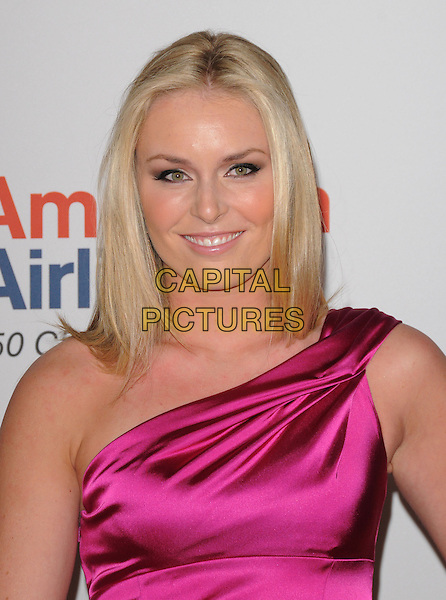 LINDSEY VONN .at the 17th Annual Race to Erase MS held at The Hyatt Regency Century Plaza in Beverly Hills, California, USA, May 7th 2010..portrait headshot smiling pink silk satin dress one shoulder .CAP/RKE/DVS.©DVS/RockinExposures/Capital Pictures.