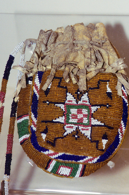 Ute Indian beadwork on a pouch made from animal skin. This would have been used to carry amulets and medicines.