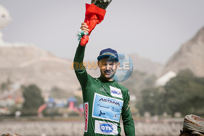 The final podium 1st overall Alexey Lutsenko (KAZ) Astana Pro Team and Green Jersey after Stage 6 of the 10th Tour of Oman 2019, running 135.5km from Al Mouj Muscat to Matrah Corniche, Oman. 21st February 2019.<br /> Picture: ASO/P. Ballet | Cyclefile<br /> All photos usage must carry mandatory copyright credit (© Cyclefile | ASO/P. Ballet)