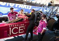 Feb 8, 2019; Pomona, CA, USA; Crew members for NHRA top fuel driver Leah Pritchett during qualifying for the Winternationals at Auto Club Raceway at Pomona. Mandatory Credit: Mark J. Rebilas-USA TODAY Sports