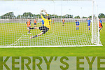 Goalie for Killarney Atletic Noel O'Doherty makes a great save from Alan McKeelan (The Park) in the 1st round National Cup at Christy Leahy Park, Tralee on Saturday