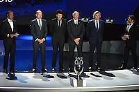 23.02.2013. Nice, France. UEFA Drawing fo the 2016 UEFA EURO Championships. Ruud Gullit, Vitor Baia, Rinat Dasaev, Jose Angel Iribar, Pat Jennings Bixente Lizarazu