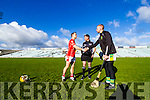 Peter Russell of Monaleen and Aiden McCabe of Kilmoyley shake hands before the game at the Gaelic Grounds, Limerick<br /> <br /> Photo: Oisin McHugh True Media