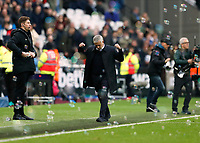 23rd November 2019; London Stadium, London, England; English Premier League Football, West Ham United versus Tottenham Hotspur; Tottenham Hotspur Manager Jose Mourinho celebrates from the touchline after the full time whistle - Strictly Editorial Use Only. No use with unauthorized audio, video, data, fixture lists, club/league logos or 'live' services. Online in-match use limited to 120 images, no video emulation. No use in betting, games or single club/league/player publications