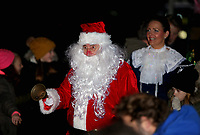 Pictured: Father Christmas at the Christmas Lights switch on in Ystradgynlais, Wales, UK.<br /> Re: Hundreds of people gathered in Ystadgynlais, south Wales, for the Christmas lights switch on by actor Michael Sheen.<br /> The Port Talbot-raised, Hollywood actor led the big countdown to begin the Christmas festivities in Gorsedd Park.<br /> The event comes in the wake of the star taking a shine to the area after filming for a TV programme.