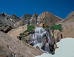 Chasm Falls and the Diamond in Rocky Mountain National Park, Colorado.